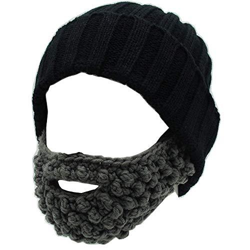 qazxsw Unisex Funny Winter Hat w/Fake Beard Detachable Beard Beanie Hand-Knit Hat