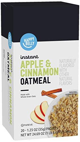 Amazon Brand  Happy Belly Instant Oatmeal Apple and Cinnamon 20 Packets
