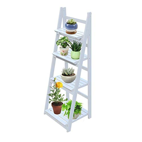 BlackEdragon Escalera para Flores, estantería para Plantas, Escalera Plegable para Flores, Escalera para Plantas, estantería para Flores, estantería de jardín, 4 Pisos de Madera, 115 x 41 cm