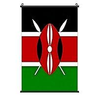 ケニアの国旗_ポスターハンギングペインティングウッドフレーム装飾壁アートスクロールポスターハンギングホームアートプリント装飾絵画40cm * 60cm