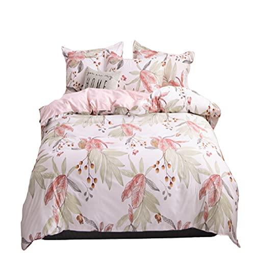 QQSM Ropa de cama de tres piezas de cuatro piezas, agradable al tacto, diseño de sala de dormir, fácil y versátil y práctico, lavable a máquina, color rosa, cama de 1,2 m