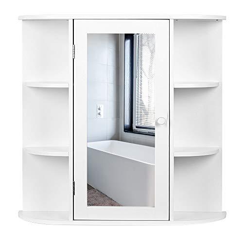 Flyelf Spiegelschrank Hängeschrank mit 3 Ablage Stilvoll für Bad/Wohnzimmer/Eingang