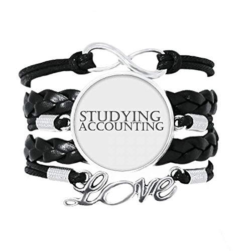 DIYthinker Armband mit kurzem Spruch zum Lernen der Buchhaltung, Liebes-Accessoire, gedrehtes Leder, Strickseil