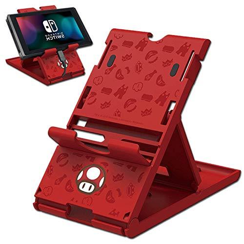 Soporte de juego compatible con Switch / Switch Lite con 7 tarjetas, diseño de Mario Mushroom rojo funda para tarjeta de juego, ajustable, plegable