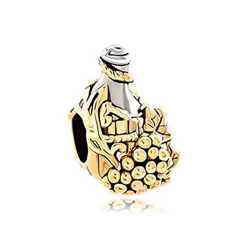 Auténtico Pandora 925 Colgante De Plata Esterlina Diy Uva Dorada Botella De Vino Diseñador De Cuentas Europeas Charm Bead Fit Pulsera