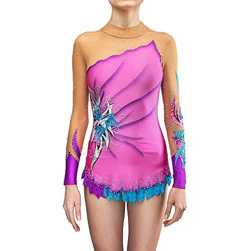 Traje de skate ZXS Eiskunstlaufkleid Damen Mädchen Elastan Hohe Elastizität Wettkampf Eislaufbekleidung Handgefertigter Eislaufanzug Strass Eislaufanzug,Child 10