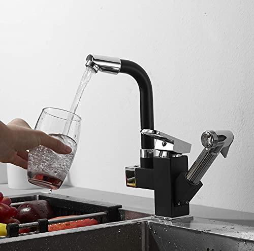 WYDM Grifo de baño Moderno Caño Giratorio de 360 Grados Grifo de Lavabo Mezclador extraíble de un Solo Orificio para fregaderos de baños de Cocina con rociador extraíble