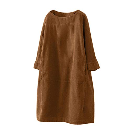 SHWPAKFA Vestido de Mulher Women Vintage Pockets Corduroy Solid Color Long Sleeve Loose Casual Dress Dresses for Women 2021 Brown