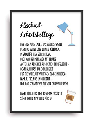 Geschenk Karte ABSCHIED ARBEITSKOLLEGE Kunstdruck Job Berufsleben Verabschiedung Bild ohne Rahmen DIN A4