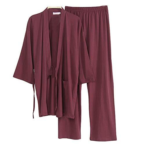 WEI-LUONG Software for Hombre de Estilo japonés Kimono Traje Pijama Bata Bata de Ajuste [L, A2] Vino Tinto japonés