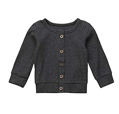Newborn Baby Girls Boys Sweater Outwear Thin Sweaters Solid Button Down Cardigans for Infant 0-24M (18-24M, Grey)