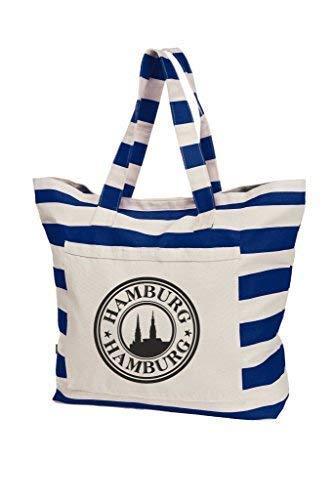 Livingstyle & Wanddesign Maritime Streifen-Strandtasche, 50 L, Navy-weiß, Hamburg Stempel, schwarz