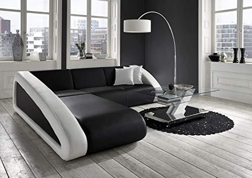 SAM Ecksofa Ciao Sofa schwarz/schwarz/weiß, 250 x 270 cm Ottomane Links, Designed by Ricardo Paolo Exklusive L - Form
