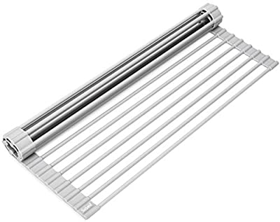 """Surpahs Over The Sink Multipurpose Roll-Up Dish Drying Rack (Warm Gray, 17.5"""" x 13.1"""" - Small)"""