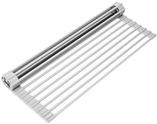 """Large 20.5"""" Multipurpose Roll Up Dish Drying Rack & Trivet - Heavy Duty, Silicone-Coated Stainless Steel Roll Up Rack, Rolls Out Over Any Sink - Versatile Roll Up Sink Drying Rack by Zulay"""