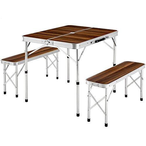 TecTake Koffertisch mit 2 Sitzbänke Campingmöbel Set Aluminium | Totalmaße geklappt 91x10x34 cm