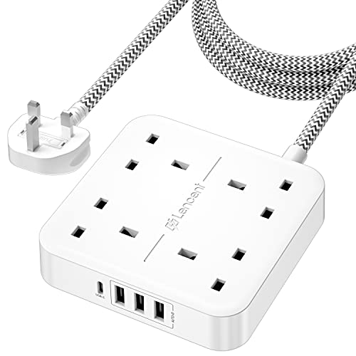 LENCENT Extension Lead with USB C Port, 3250W 13A, 4 Way Outlets Power Strip with 1 USB-C and 3 USB Slots, Multi Power Plug Extension with 1.8M Braided Extension Cord for Home Office, White