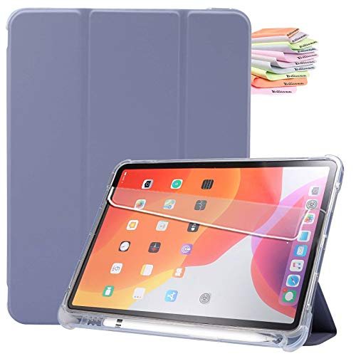Billionn Custodia per iPad Air 4a Generazione 2020 + Proteggi Schermo, per iPad Air 4a 10,9 Pollici 2020 Smart Cover con Auto Sleep Wake e Portapenne, Viola