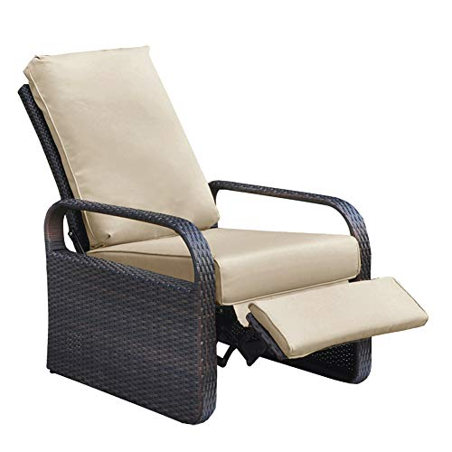 ATR ARTTOREAL Outdoor Resin Wicker Patio Recliner Chair with Cushions,...