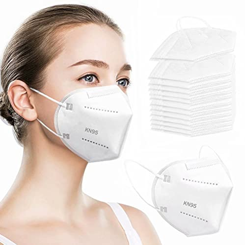 50PCS KN95 Face Mask Respirator Cup Dust Safety Masks Breathable 5 Layer with Elastic Ear Loop and Nose Bridge Clip for Personal Protective White