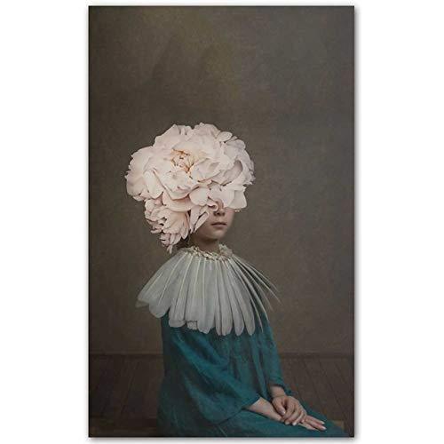 Impresión en lienzo Cartel Flores Mariposa Mujer Pintura al óleo Cuadros de pared para sala de estar Decoración para el hogar 50x80cm