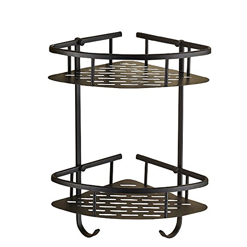 Nokozan Solid Brass 2 Tier Bathroom Corner Shower Caddy Bathroom Storage Rack Shelf Organiser Basket Wall Mount