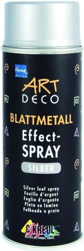 Kreul 994401 - Art Deco Blattmetall Effektspray, schnelltrocknender Nitro Kombilack mit blattmetall ähnlicher Optik, für Innen und Außen geeignet, 400 ml Spraydose, silber