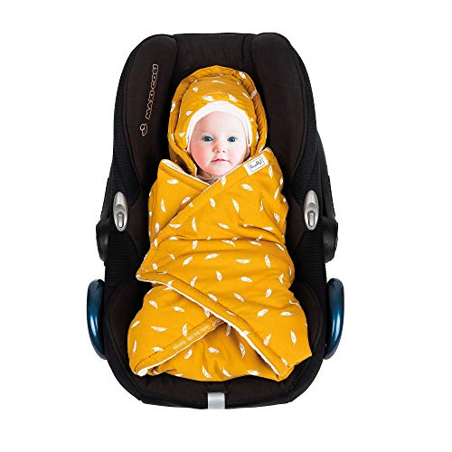SWADDYL Baby Bunting Bag I Swaddle Blanket I Universal for Car Seat Graco Chicco Britax | Stroller | Baby Bed I Made in Europe (Mustard)