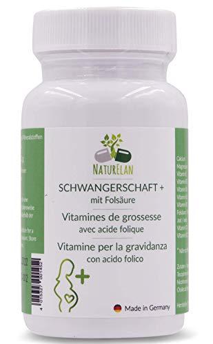Schwangerschaftsvitamine mit Folsäure & Vitamine für Schwangerschaft - 90 Kapseln mit 400,0μg Folsäure, Jod, Calcium, Magnesium, Vitamin B, D und E, bei Kinderwunsch - hergestellt in Deutschland