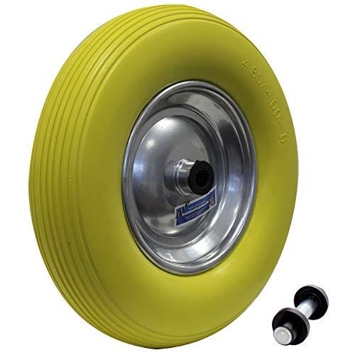 Schubkarrenrad Vollgummi PU Pannensicher 4.80/4.00-8 Ø 400mm mit Achse PU Stahlfelge gelb