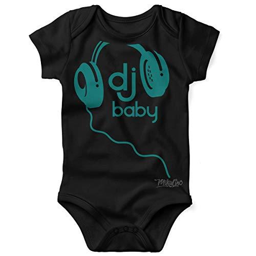 Mikalino Babybody mit Spruch für Jungen Mädchen Unisex Kurzarm DJ Baby | handbedruckt in Deutschland | Handmade with Love, Grösse:56, Farbe:schwarz