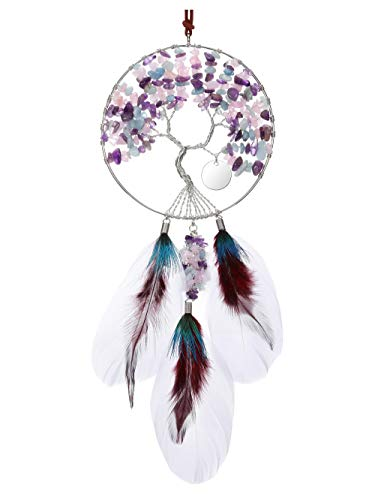 CrystalTears Healing Crystal Tree of Life Hanging Ornament Handmade Feather Reiki Healing Crystal Gemstone Wall Hanging for Meditation Yoga Home Car Wall Decoration