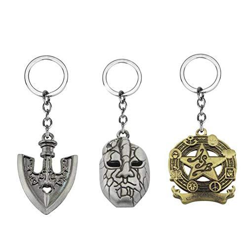 HLZG 3 Pieces JoJo Bizarre Adventure Keychain Anime Cosplay Costume key ring