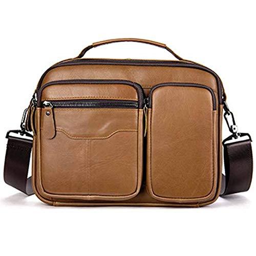 Bolso bandolera para portátil con doble compartimento expandible para hombre, bolso de hombro de piel auténtica, bolso de mensajero de negocios para PC, Netbook, estilo clásico