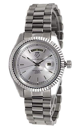 C CAVADINI Leonardo Herren-Armbanduhr Analog Quarz mit Edelstahlarmband CV-331JDD (Silber/Silber)