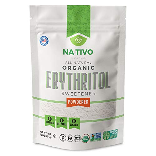 NATIVO, Organic Confectioners Erythritol Powder, Replacement for Powdered Sugar, KETO- Gluten Free- Zero Calories, 1-Pound