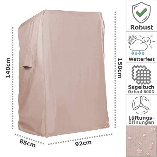 Strandkorb Hanse Schutzhülle aus 600 D Oxford Gewebe mit extra flexiblem Klettverschluss, Premium Strandkorbhülle in beige, Winterfest