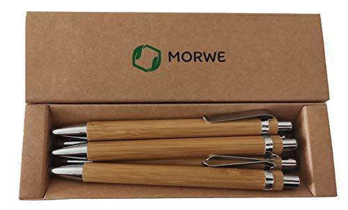Nachhaltige Kugelschreiber aus Bambus | Set aus 5 Holz-Kugelschreibern | Ideales Nachhaltiges Geschenk | Stift in Plastikfreier Verpackung