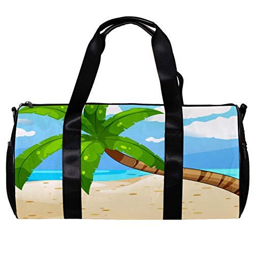 Bolsa de deporte redonda con correa de hombro desmontable para el árbol del océano en la playa, bolso de entrenamiento para mujeres y hombres