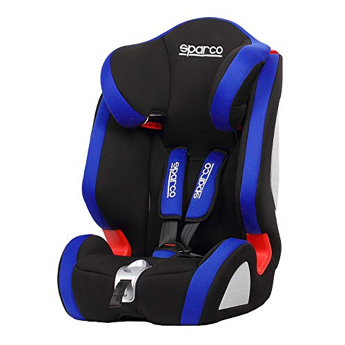 SPARCO SPC3005AZ Kindersitz F1000K Schwarz/Blau 9 bis 36 kg, 9 Monate bis 12 Jahr (E4-R44)