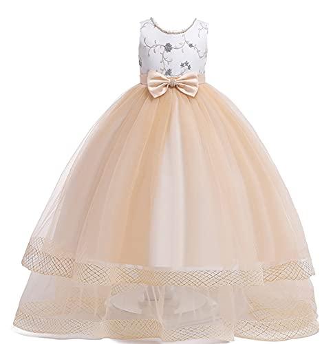 WAWALI Niños vestido de novia niñas primera comunión formal vestido largo princesa fiesta vestidos de baile, champán, 10-11 Años