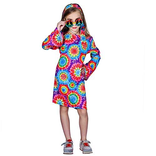 SEA HARE Disfraz de Hippie Retro para niñas de los años 60 y 70 (L:10-12 años)