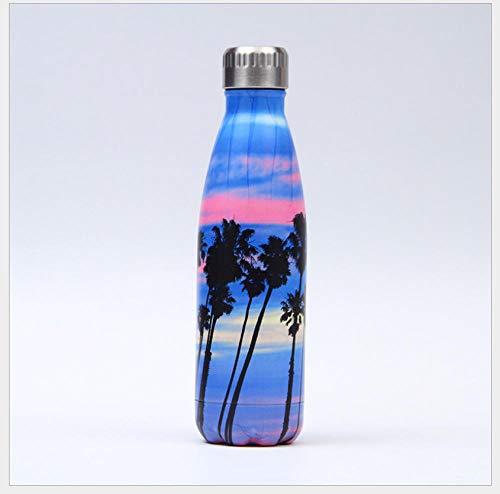 CJFHBVUQ Botella De Agua Acero Inoxidable Paisaje De Puesta De Sol De Planta Simple Doble Pared con Aislamiento De Botella De Agua De Acero Inoxidable Deportiva Botella Acero Inoxidable Térmic