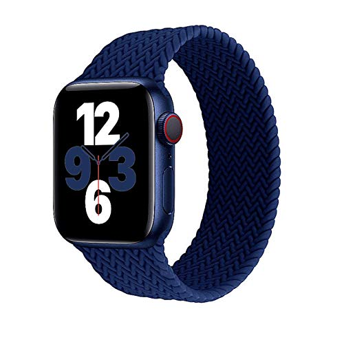 LAGOON Stretchy Silicone Solo Loop Bands Compatible with Apple Watch 38mm 40mm 42mm 44mm iWatch Series 6 SE 5 4 3 2 1 Strap, Silicone Braided Elastic Sport Strap Compatible for iWatch Series 6/5/4/3/2/1/SE (Navy Blue, 38/40mm M:6.3'-7.0')