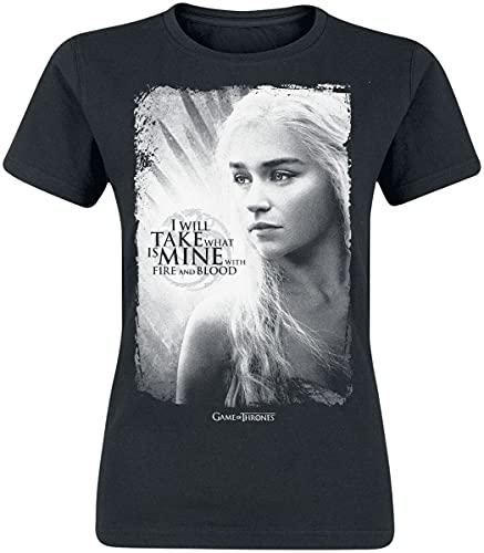 Game Of Thrones Juego de Tronos Take What Is Mine Mujer Camiseta Negro S, 100% algodón, Estrechos