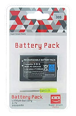 SuperSmashMedia® - 2000mAh Replacement Battery Pack Kit for Nintendo 3DS Console with Screwdriver Included CTR-003 (Nintendo 3DS)