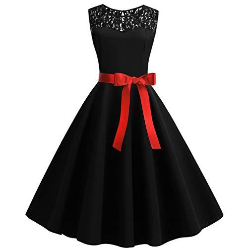 Fitfulvan Dress Vestido Retro de los años 50, sin Mangas, con Encaje, uniones sólidas, para Fiesta,…