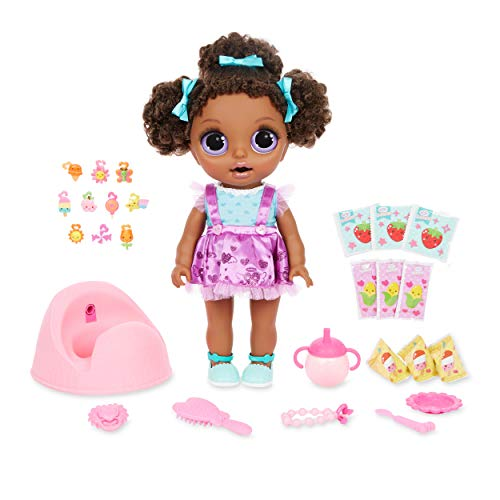 BABY born Surprise Magic Potty Surprise Purple Eyes – Doll Pees Glitter & Poops Surprise Charms, Multicolored (917783)