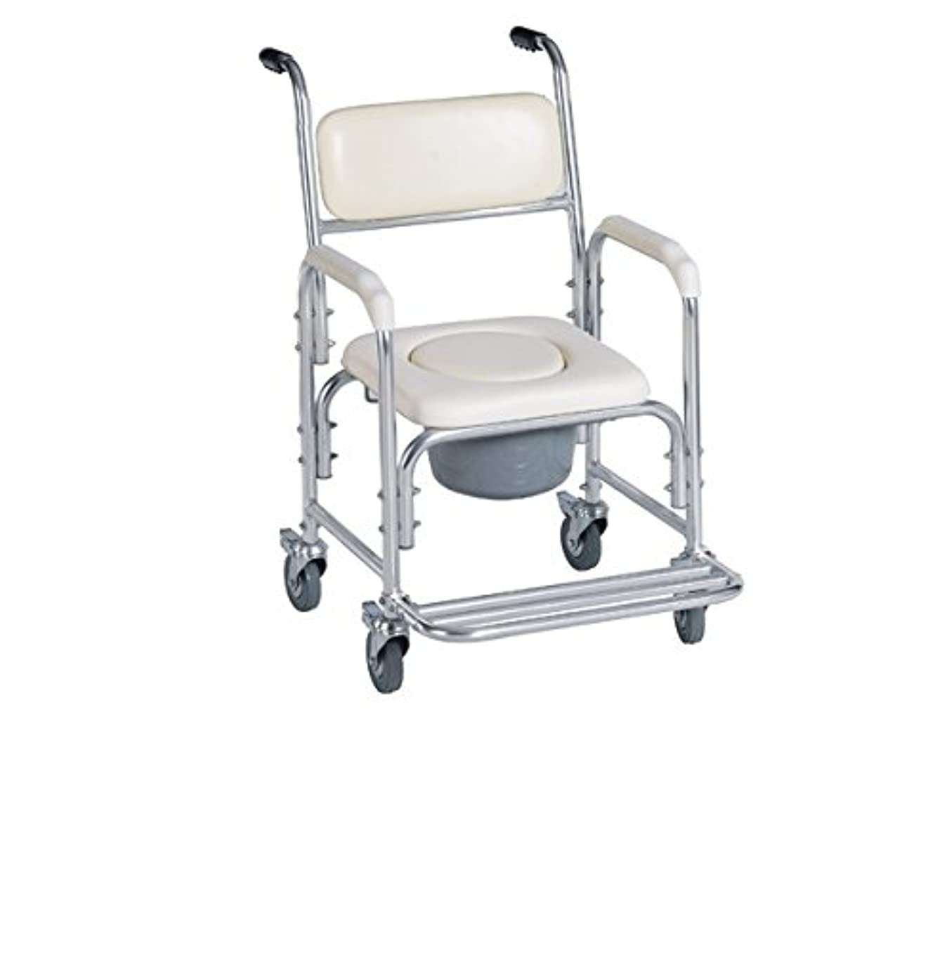 Aluminum Shower Chair/Bedside Commode W/casters and Padded Seat, Commode Pail and Cover by Healthline Trading