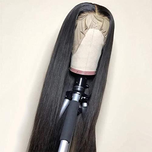 Peluca de pelo humano para mujer, pelo corto, brasileño, natural, virgen, cabello humano VIPbeautyStraignt, encaje frontal, negro natural